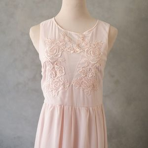 Rose Pink Embroidered Chiffon Dress